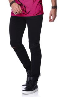 Calça King&Joe Jeans Preta Rasgada