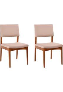 Conjunto De 2 Cadeirasde Jantar Kindon Ii Estofada Castanho E Bege