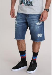 Bermuda Jeans Destroyed Azul Escuro