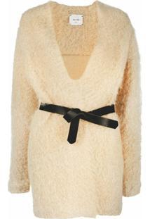 Alysi Cardigan Com Cinto Na Cintura - Amarelo