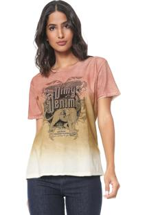 Camiseta Dimy Tachas Laranja/Bege