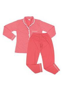 Pijama Plus Size Estampado Feminino Blusa Manga Longa E Calça