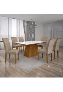 Conjunto Sala De Jantar Mesa Tampo Mdf/Vidro Branco 6 Cadeiras Pampulha Leifer Imbuia Mel/Linho Bege