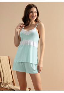 Pijama Com Sobreposição De Renda Verde Água