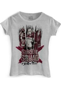 Camiseta Dc Comics Bandup! Esquadrão Suicida We Trust - Feminino-Cinza