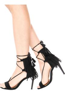 Sandália Dafiti Shoes Franja Tassel Preta