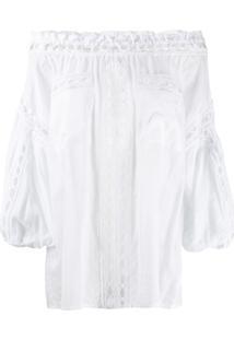 Charo Ruiz Off-Shoulder Embroidered Blouse - Branco