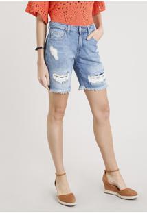 Bermuda Jeans Feminina Destroyed Com Barra Desfiada Azul Médio
