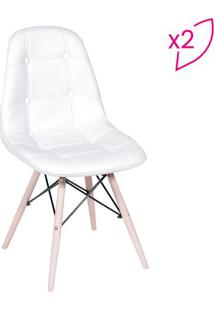 Jogo De Cadeiras Eames Botonê- Branco & Bege- 2Pçs