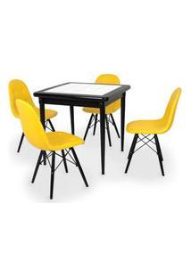 Conjunto Mesa De Jantar Em Madeira Preto Prime Com Azulejo + 4 Cadeiras Botonê - Amarelo