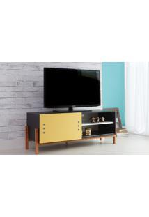 Rack De Tv Preto Moderno Vintage Retrô Com Porta De Correr Amarela Eric - 126X43,6X48,5 Cm
