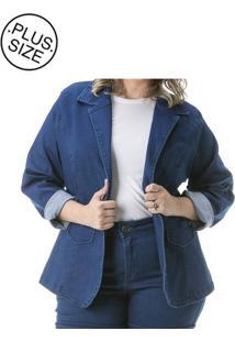 Blazer Jeans Plus Size - Confidencial Extra Com Gola