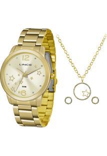 Kit De Relógio Analógico Lince Feminino + Brinco + Colar - Lrgh092L Kv69C2Kx Dourado - Único