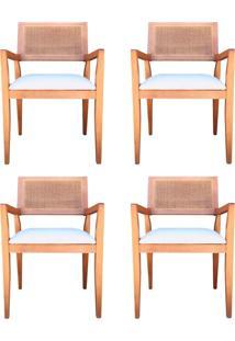 Kit 4 Cadeiras Decorativas Sala De Jantar Megan Amêndoa Linho Bege - Gran Belo - Tricae