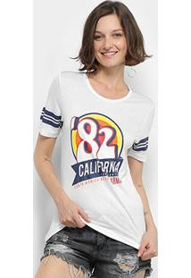 Camiseta T-Shirt Carmim California Feminina - Feminino-Off White
