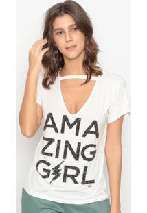 """Blusa """"Amazing Girl""""- Off White & Prateada- Cavalaricavalari"""