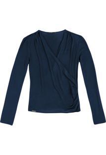 Blusa Em Malha De Viscose Com Detalhe De Transpasse Frontal - Azul