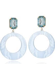Brinco Le Diamond Acrílico Geométrico Base Cristal Claro