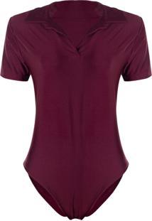 Body Outletdri Suplex Estilo Camisa Com Gola Decotado Em V Básico Vinho