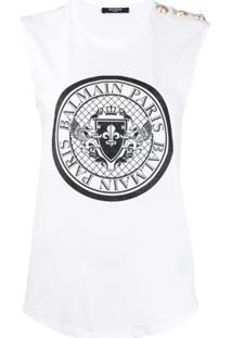 Balmain Regata Com Logo E Brilho - Branco
