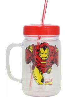 Caneca Pote Homem De Ferro Geek10 Vermelho