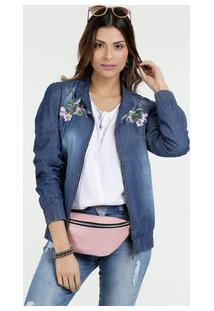 dc3c26a28 Marisa. Jaqueta Feminina Jeans Bomber Azul Floral ...