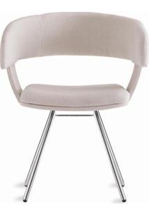 Cadeira Inhotim Assento Estofado Rustico Cru Base Cromada - 55876 - Sun House