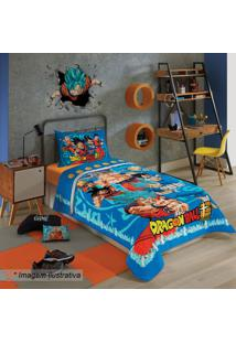 Edredom Dragon Ballâ® Solteiro- Azul & Laranja- 150X2Lepper
