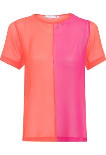 Camiseta Feminina Bicolor Seda - Laranja