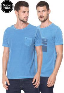Camiseta Aramis Dupla Face Caligrafia Azul