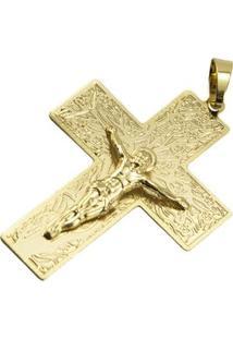 Pingente Cruz Grande Tudo Joias Folheada A Ouro 18K - Unissex-Dourado