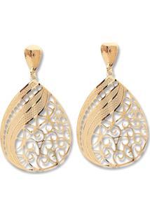 Brinco Le Diamond Chapa Mandala E Listras Dourado - Kanui