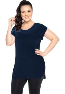 Blusa Trinys Plus Bali Plus Size Longa Feminina F-14144 - Azul Marinho - Feminino - Dafiti
