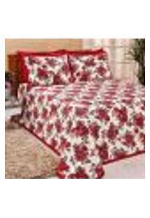 Kit Cobre Leito King Size Vermelho Estampado 3 Peças Com Porta Travesseiros