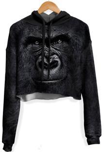 Blusa Cropped Moletom Feminina Over Fame Gorila Md01 - Kanui