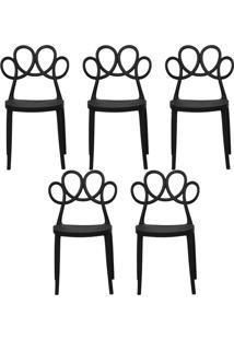 Kit 05 Cadeiras Decorativas Para Cozinha Laço Preto - Gran Belo - Tricae