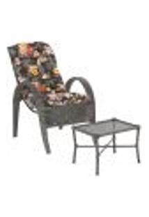 Jogo Cadeira 1Un E Mesa P/ Jardim Edicula Varanda Descanso Trama Napoli Plus Tabaco A02