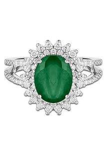 Anel Ouro Branco Esmeralda E Diamantes