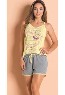 Pijama Curto Com Blusa De Alças Amarelo E Mescla