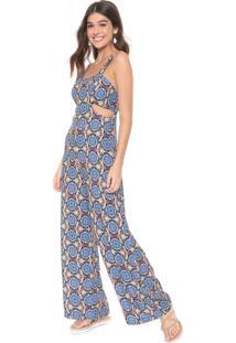 Macacão Redley Pantalona Alexandria Preto/Azul