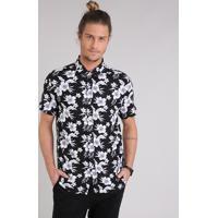 Camisa Masculina Estampada Floral Manga Curta Preta 32f33964cdc