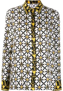 Versace Printed Monogram Silk Blouse - Branco