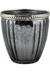 Castiçal Decorando Com Classe De Vidro Prata 8,5X12Cm