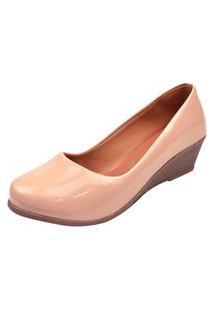 Sapato Scarpin Conforto Feminino Salto Anabela Confortável Nude Verniz Eleganteria