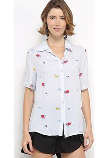 Camisa Manga Curta C & V Collection Xadrez Floral Feminina - Feminino-Azul Claro