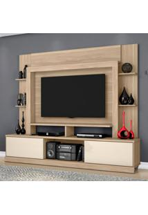 Estante Para Home Theater E Tv Até 55 Polegadas Miami Macchiato E Off White