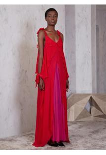 Vestido Atelier Le Lis Katsumi Longo Seda Vermelho Feminino (Vermelho, 46)