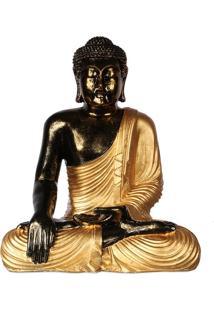 Estátua Buda Pátina   Preto E Dourado