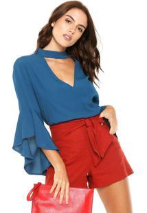 Blusa Colcci Flare Azul