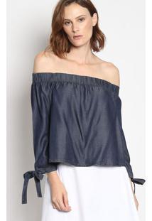 Blusa Ciganinha Jeans Com Amarraã§Ã£O- Azul Escuroenna
